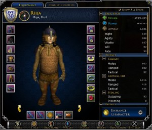 LotRO's charcter screen