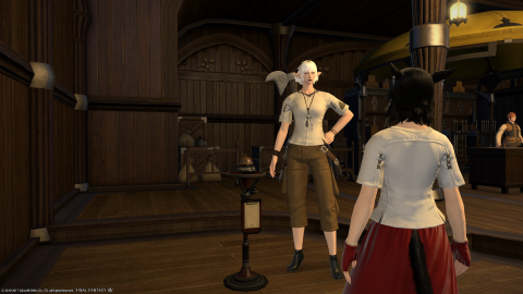 A miqote with a shirt and skirt, and a botany retainer with a shirt and slacks.